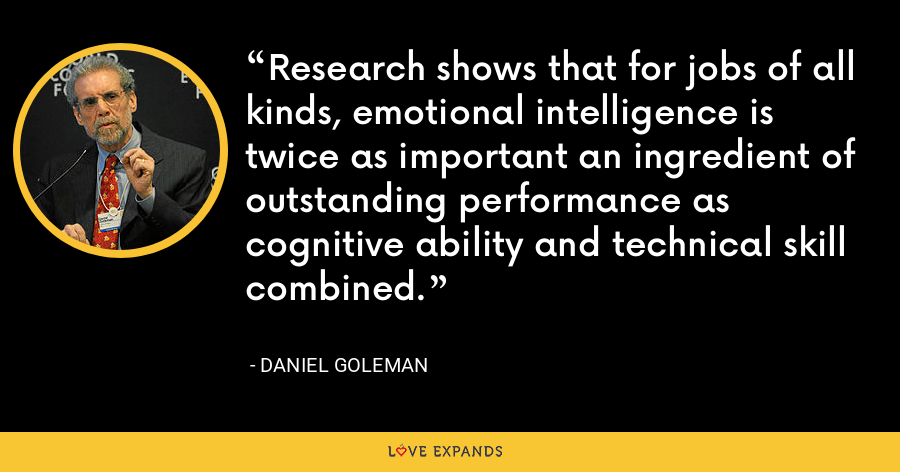 Research shows that for jobs of all kinds, emotional intelligence is twice as important an ingredient of outstanding performance as cognitive ability and technical skill combined. - Daniel Goleman