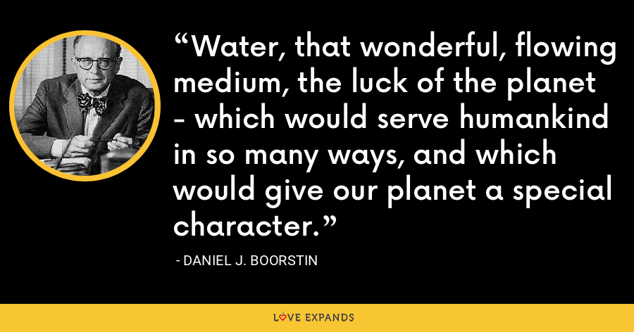 Water, that wonderful, flowing medium, the luck of the planet - which would serve humankind in so many ways, and which would give our planet a special character. - Daniel J. Boorstin