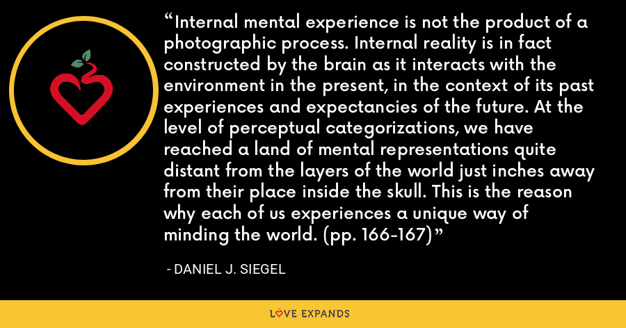 Internal mental experience is not the product of a photographic process. Internal reality is in fact constructed by the brain as it interacts with the environment in the present, in the context of its past experiences and expectancies of the future. At the level of perceptual categorizations, we have reached a land of mental representations quite distant from the layers of the world just inches away from their place inside the skull. This is the reason why each of us experiences a unique way of minding the world. (pp. 166-167) - Daniel J. Siegel