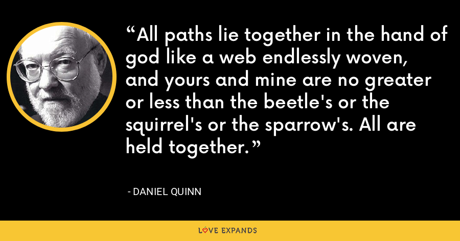 All paths lie together in the hand of god like a web endlessly woven, and yours and mine are no greater or less than the beetle's or the squirrel's or the sparrow's. All are held together. - Daniel Quinn