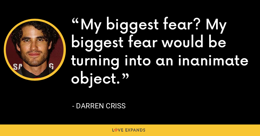 My biggest fear? My biggest fear would be turning into an inanimate object. - Darren Criss