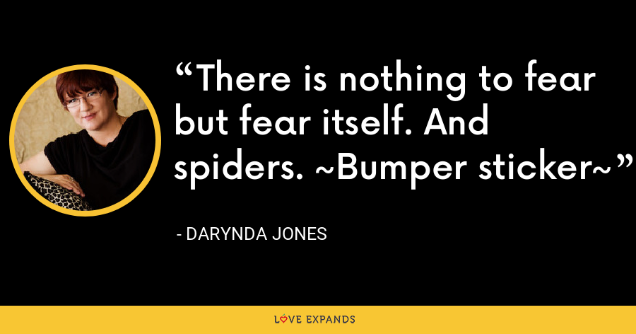 There is nothing to fear but fear itself. And spiders. ~Bumper sticker~ - Darynda Jones