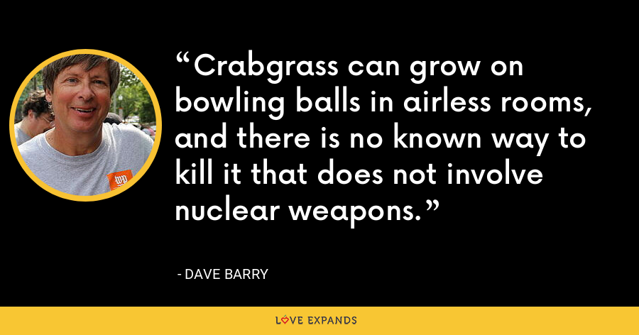 Crabgrass can grow on bowling balls in airless rooms, and there is no known way to kill it that does not involve nuclear weapons. - Dave Barry