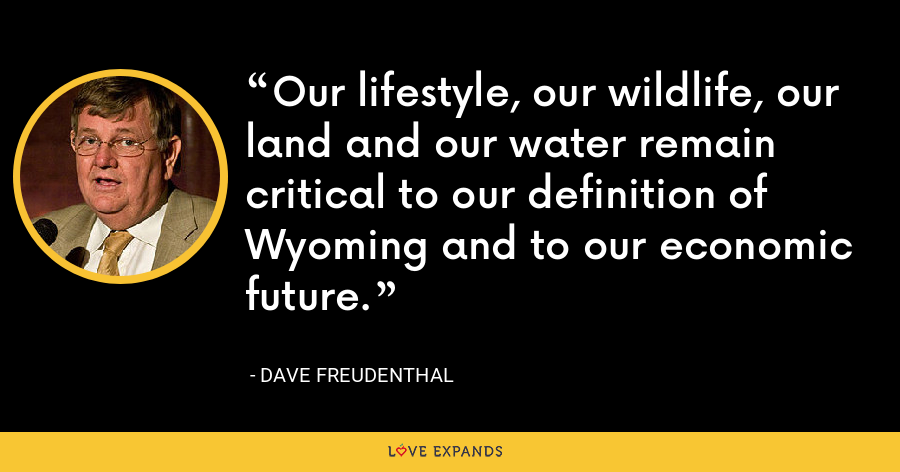 Our lifestyle, our wildlife, our land and our water remain critical to our definition of Wyoming and to our economic future. - Dave Freudenthal