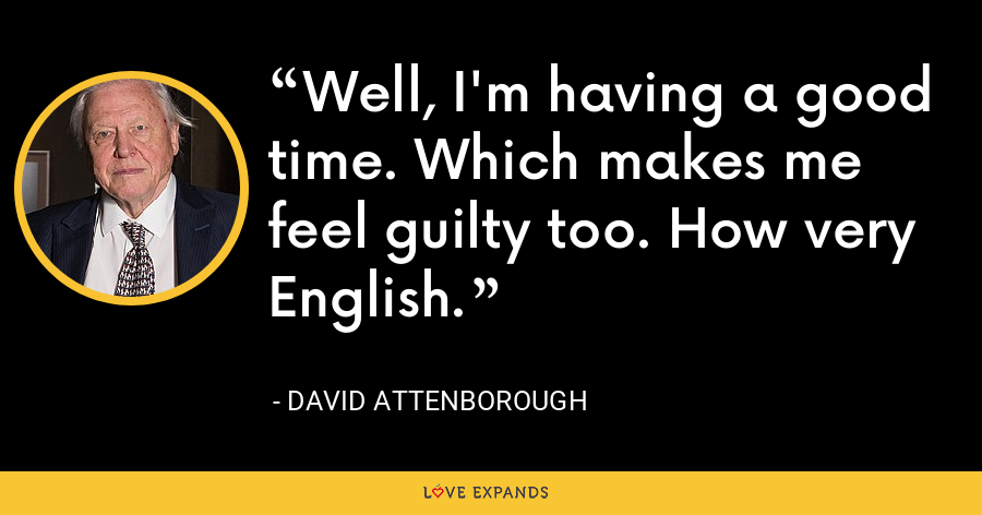 Well, I'm having a good time. Which makes me feel guilty too. How very English. - David Attenborough