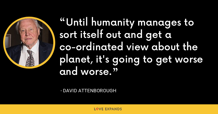 Until humanity manages to sort itself out and get a co-ordinated view about the planet, it's going to get worse and worse. - David Attenborough