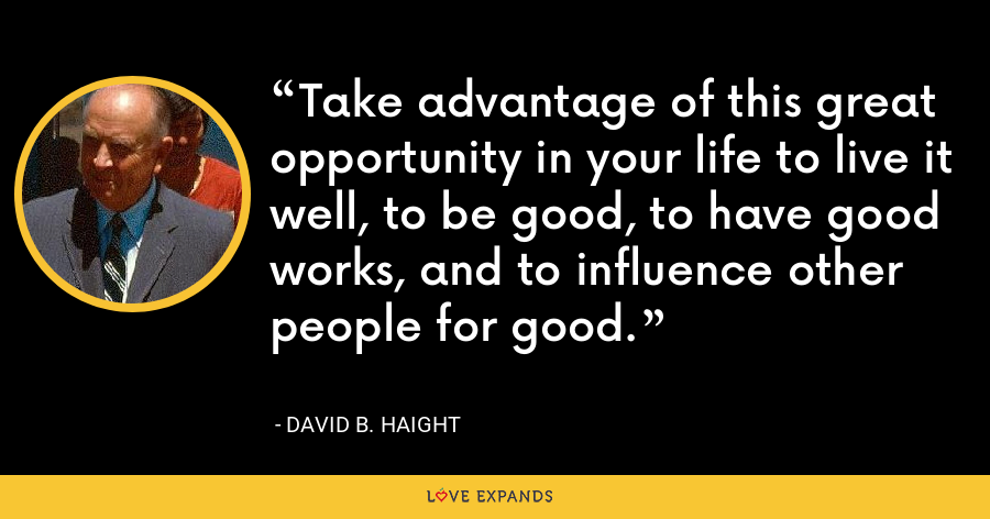 Take advantage of this great opportunity in your life to live it well, to be good, to have good works, and to influence other people for good. - David B. Haight