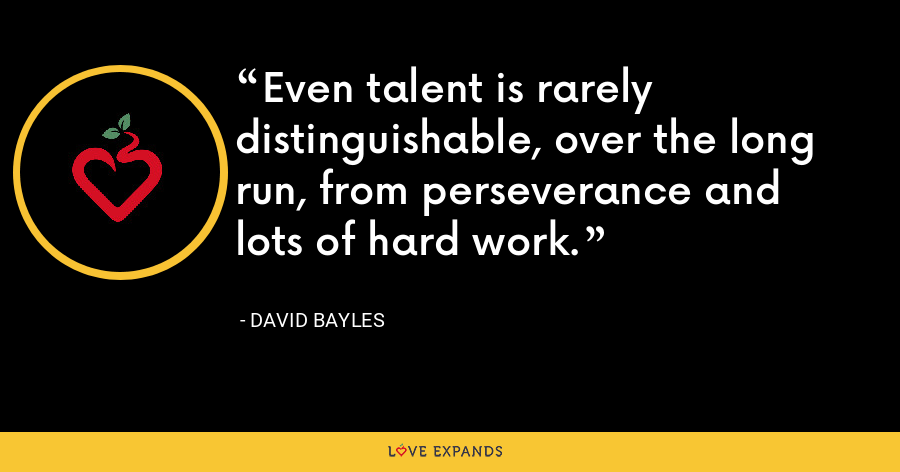 Even talent is rarely distinguishable, over the long run, from perseverance and lots of hard work. - David Bayles