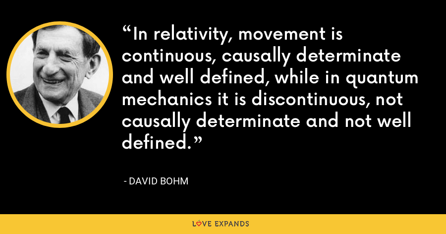 In relativity, movement is continuous, causally determinate and well defined, while in quantum mechanics it is discontinuous, not causally determinate and not well defined. - David Bohm