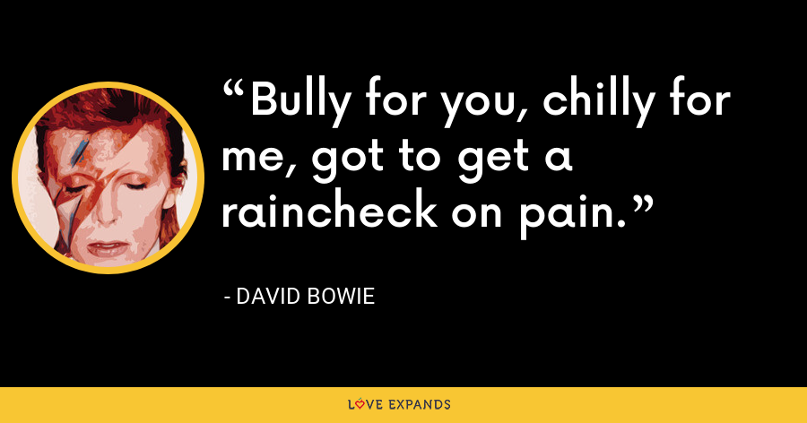 Bully for you, chilly for me, got to get a raincheck on pain. - David Bowie