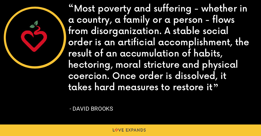 Most poverty and suffering - whether in a country, a family or a person - flows from disorganization. A stable social order is an artificial accomplishment, the result of an accumulation of habits, hectoring, moral stricture and physical coercion. Once order is dissolved, it takes hard measures to restore it - David Brooks