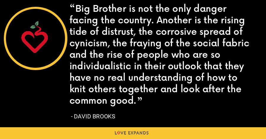 Big Brother is not the only danger facing the country. Another is the rising tide of distrust, the corrosive spread of cynicism, the fraying of the social fabric and the rise of people who are so individualistic in their outlook that they have no real understanding of how to knit others together and look after the common good. - David Brooks