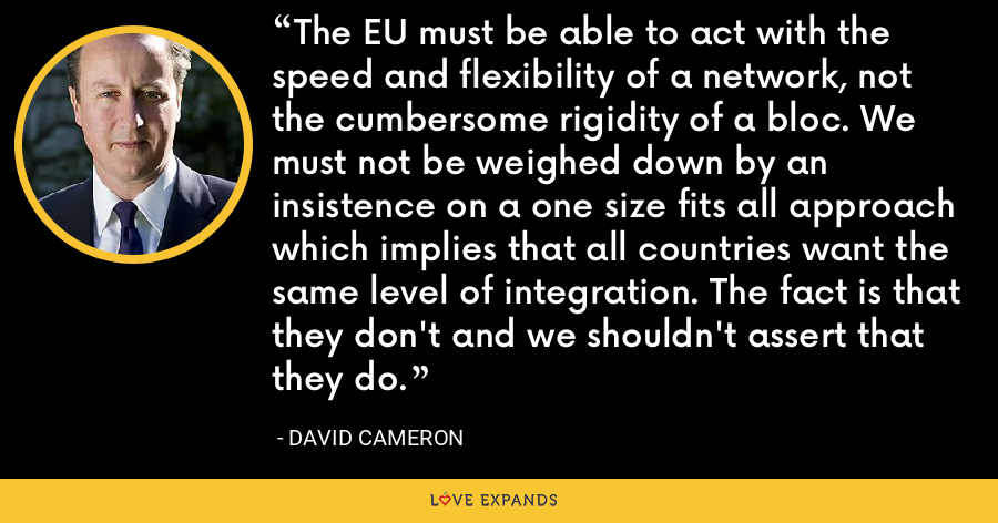 The EU must be able to act with the speed and flexibility of a network, not the cumbersome rigidity of a bloc. We must not be weighed down by an insistence on a one size fits all approach which implies that all countries want the same level of integration. The fact is that they don't and we shouldn't assert that they do. - David Cameron