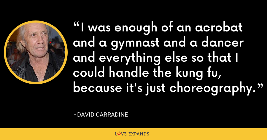 I was enough of an acrobat and a gymnast and a dancer and everything else so that I could handle the kung fu, because it's just choreography. - David Carradine