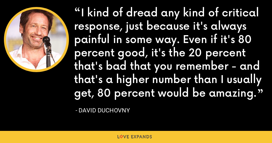 I kind of dread any kind of critical response, just because it's always painful in some way. Even if it's 80 percent good, it's the 20 percent that's bad that you remember - and that's a higher number than I usually get, 80 percent would be amazing. - David Duchovny