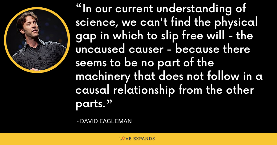 In our current understanding of science, we can't find the physical gap in which to slip free will - the uncaused causer - because there seems to be no part of the machinery that does not follow in a causal relationship from the other parts. - David Eagleman