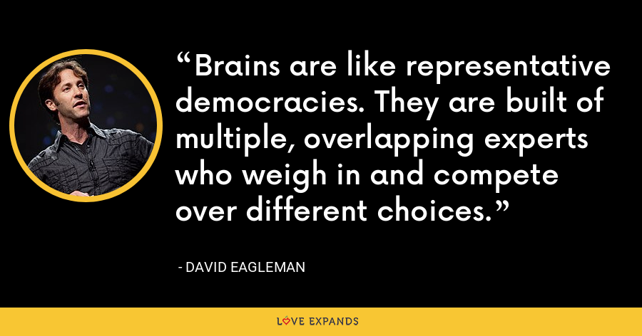 Brains are like representative democracies. They are built of multiple, overlapping experts who weigh in and compete over different choices. - David Eagleman