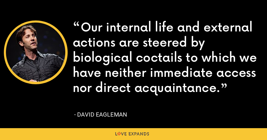 Our internal life and external actions are steered by biological coctails to which we have neither immediate access nor direct acquaintance. - David Eagleman