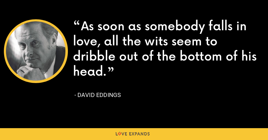 As soon as somebody falls in love, all the wits seem to dribble out of the bottom of his head. - David Eddings