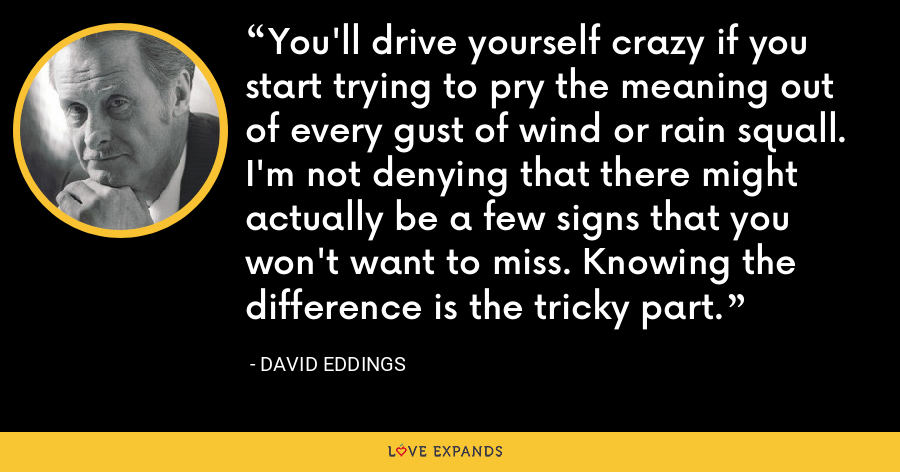 You'll drive yourself crazy if you start trying to pry the meaning out of every gust of wind or rain squall. I'm not denying that there might actually be a few signs that you won't want to miss. Knowing the difference is the tricky part. - David Eddings