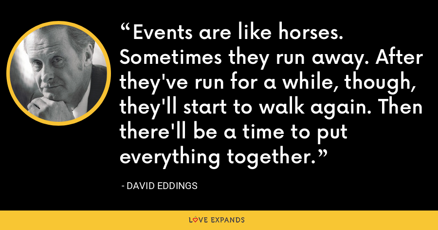 Events are like horses. Sometimes they run away. After they've run for a while, though, they'll start to walk again. Then there'll be a time to put everything together. - David Eddings