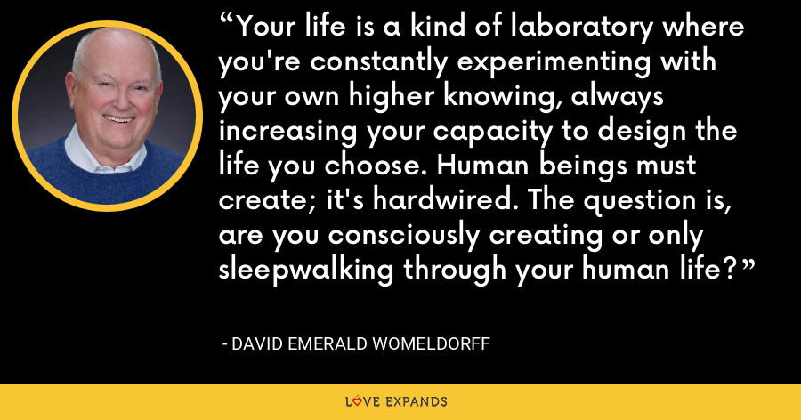 Your life is a kind of laboratory where you're constantly experimenting with your own higher knowing, always increasing your capacity to design the life you choose. Human beings must create; it's hardwired. The question is, are you consciously creating or only sleepwalking through your human life? - David Emerald Womeldorff