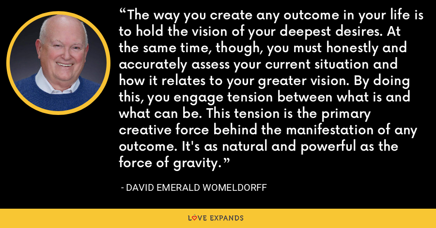 The way you create any outcome in your life is to hold the vision of your deepest desires. At the same time, though, you must honestly and accurately assess your current situation and how it relates to your greater vision. By doing this, you engage tension between what is and what can be. This tension is the primary creative force behind the manifestation of any outcome. It's as natural and powerful as the force of gravity. - David Emerald Womeldorff