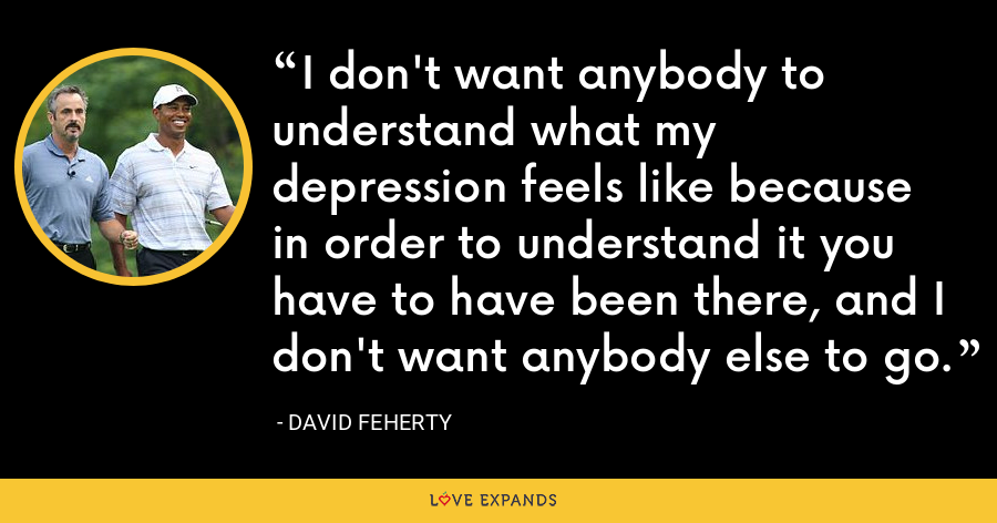 I don't want anybody to understand what my depression feels like because in order to understand it you have to have been there, and I don't want anybody else to go. - David Feherty