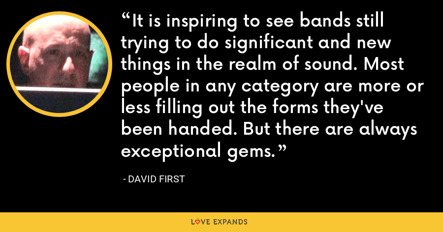 It is inspiring to see bands still trying to do significant and new things in the realm of sound. Most people in any category are more or less filling out the forms they've been handed. But there are always exceptional gems. - David First