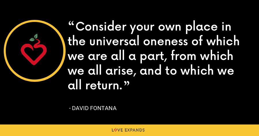 Consider your own place in the universal oneness of which we are all a part, from which we all arise, and to which we all return. - David Fontana