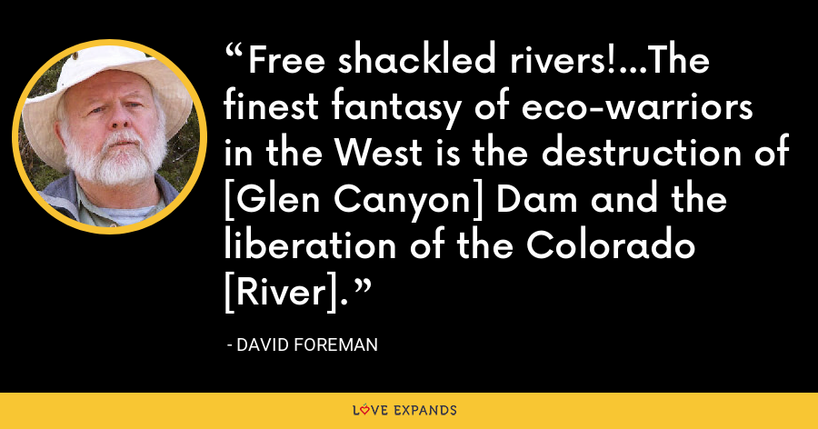Free shackled rivers!...The finest fantasy of eco-warriors in the West is the destruction of [Glen Canyon] Dam and the liberation of the Colorado [River]. - David Foreman