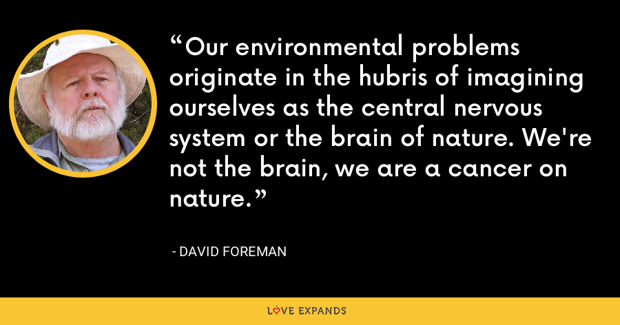 Our environmental problems originate in the hubris of imagining ourselves as the central nervous system or the brain of nature. We're not the brain, we are a cancer on nature. - David Foreman