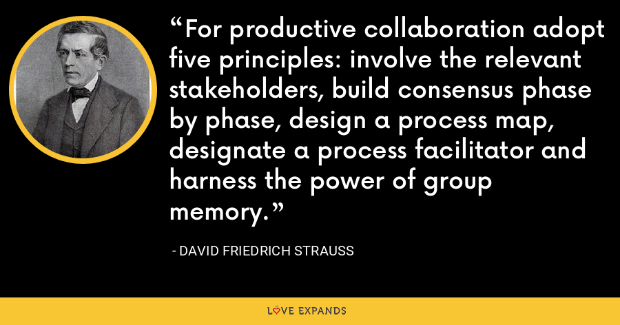 For productive collaboration adopt five principles: involve the relevant stakeholders, build consensus phase by phase, design a process map, designate a process facilitator and harness the power of group memory. - David Friedrich Strauss