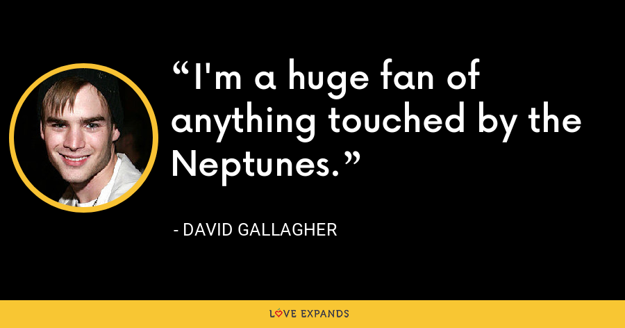 I'm a huge fan of anything touched by the Neptunes. - David Gallagher