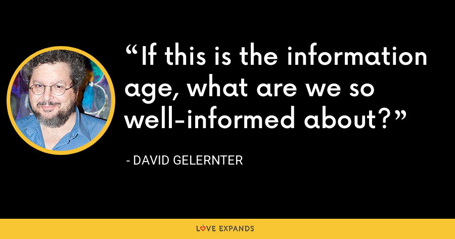 If this is the information age, what are we so well-informed about? - David Gelernter
