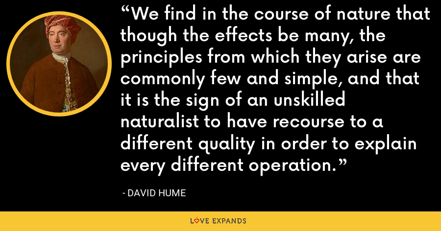 We find in the course of nature that though the effects be many, the principles from which they arise are commonly few and simple, and that it is the sign of an unskilled naturalist to have recourse to a different quality in order to explain every different operation. - David Hume