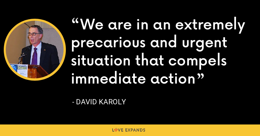 We are in an extremely precarious and urgent situation that compels immediate action - David Karoly