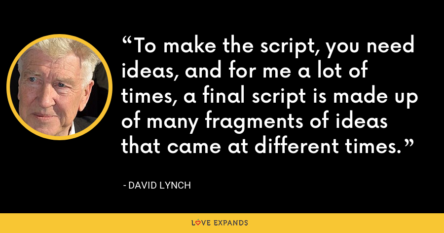 To make the script, you need ideas, and for me a lot of times, a final script is made up of many fragments of ideas that came at different times. - David Lynch