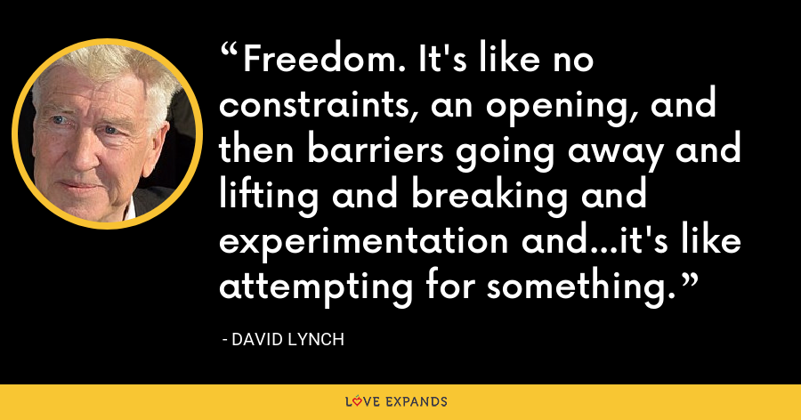Freedom. It's like no constraints, an opening, and then barriers going away and lifting and breaking and experimentation and...it's like attempting for something. - David Lynch