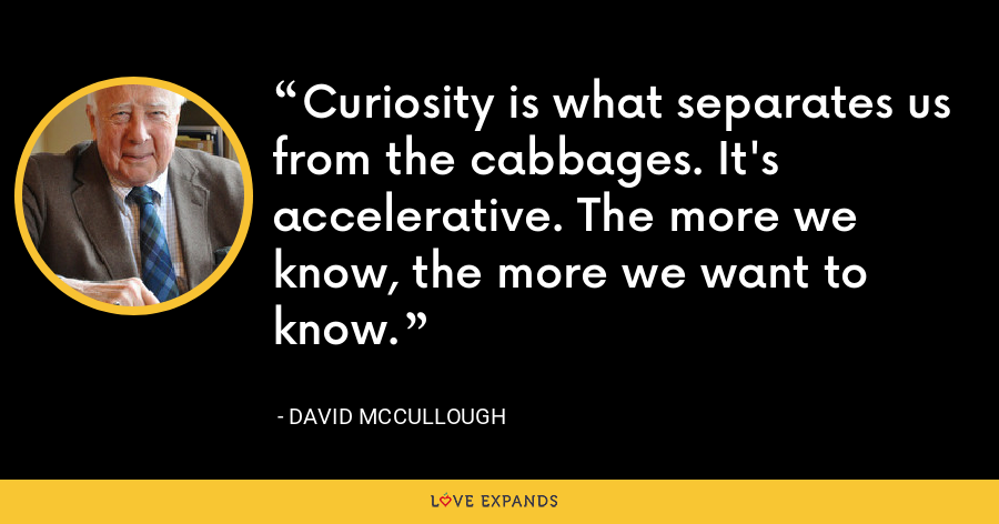 Curiosity is what separates us from the cabbages. It's accelerative. The more we know, the more we want to know. - David McCullough