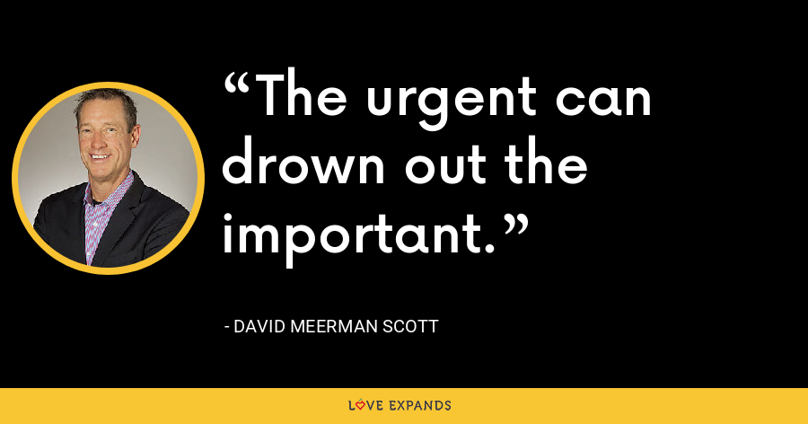 The urgent can drown out the important. - David Meerman Scott