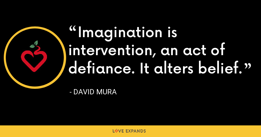 Imagination is intervention, an act of defiance. It alters belief. - David Mura