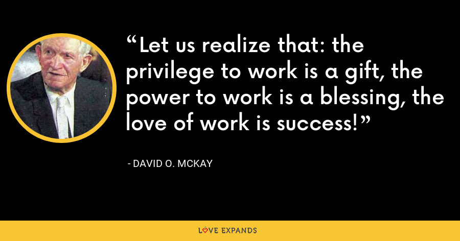 Let us realize that: the privilege to work is a gift, the power to work is a blessing, the love of work is success! - David O. McKay