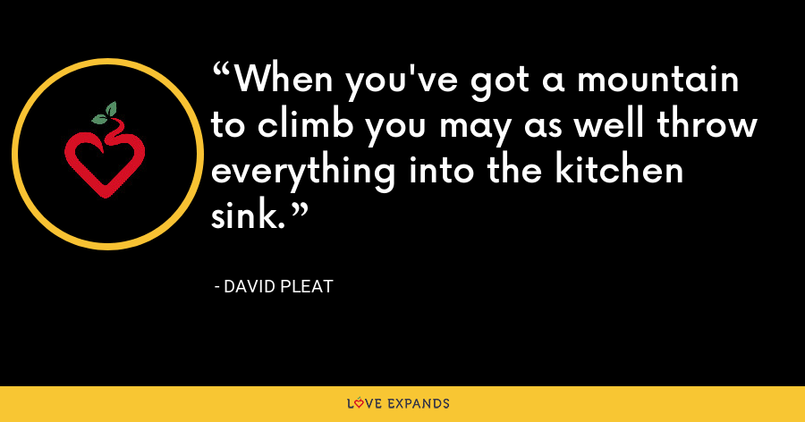 When you've got a mountain to climb you may as well throw everything into the kitchen sink. - David Pleat