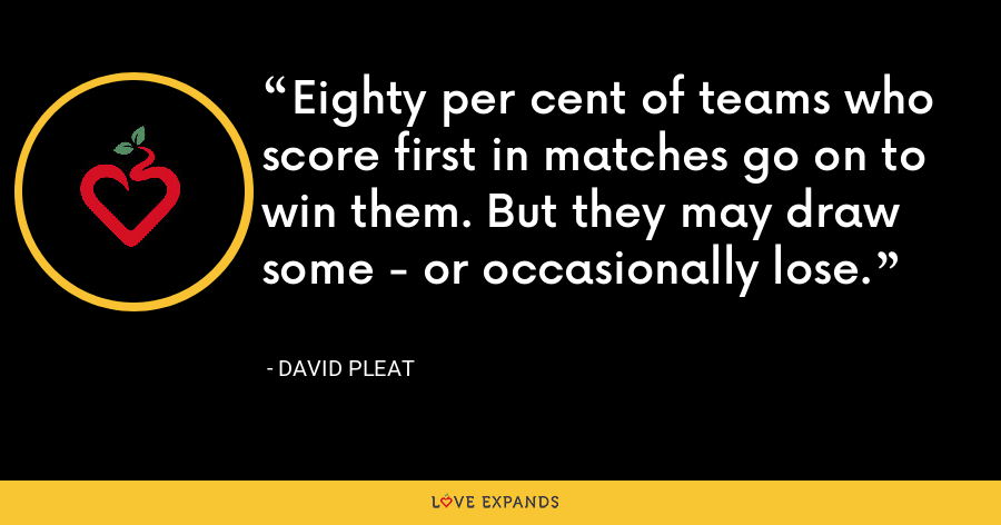 Eighty per cent of teams who score first in matches go on to win them. But they may draw some - or occasionally lose. - David Pleat