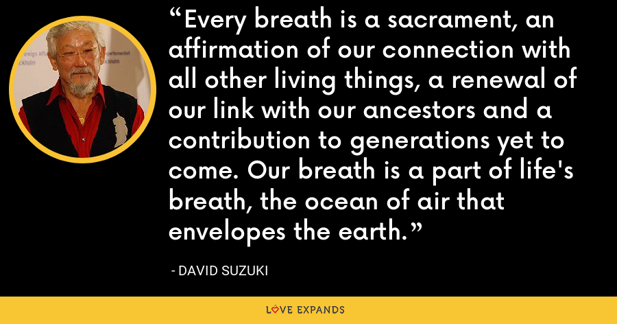 Every breath is a sacrament, an affirmation of our connection with all other living things, a renewal of our link with our ancestors and a contribution to generations yet to come. Our breath is a part of life's breath, the ocean of air that envelopes the earth. - David Suzuki