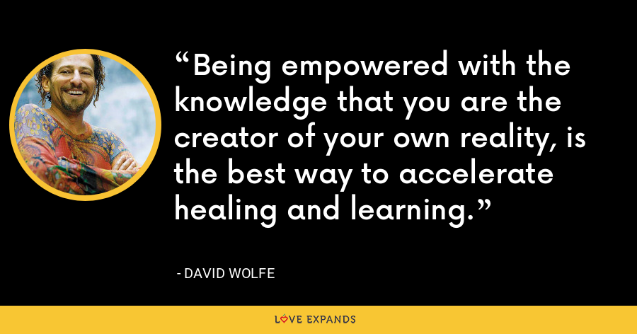 Being empowered with the knowledge that you are the creator of your own reality, is the best way to accelerate healing and learning. - David Wolfe