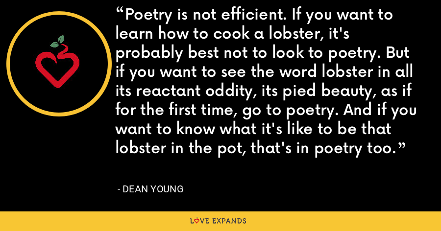 Poetry is not efficient. If you want to learn how to cook a lobster, it's probably best not to look to poetry. But if you want to see the word lobster in all its reactant oddity, its pied beauty, as if for the first time, go to poetry. And if you want to know what it's like to be that lobster in the pot, that's in poetry too. - Dean Young