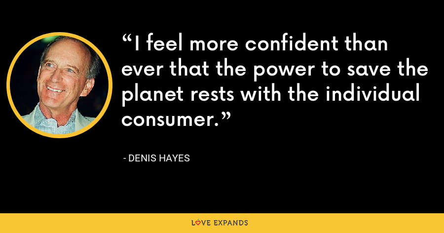 I feel more confident than ever that the power to save the planet rests with the individual consumer. - Denis Hayes