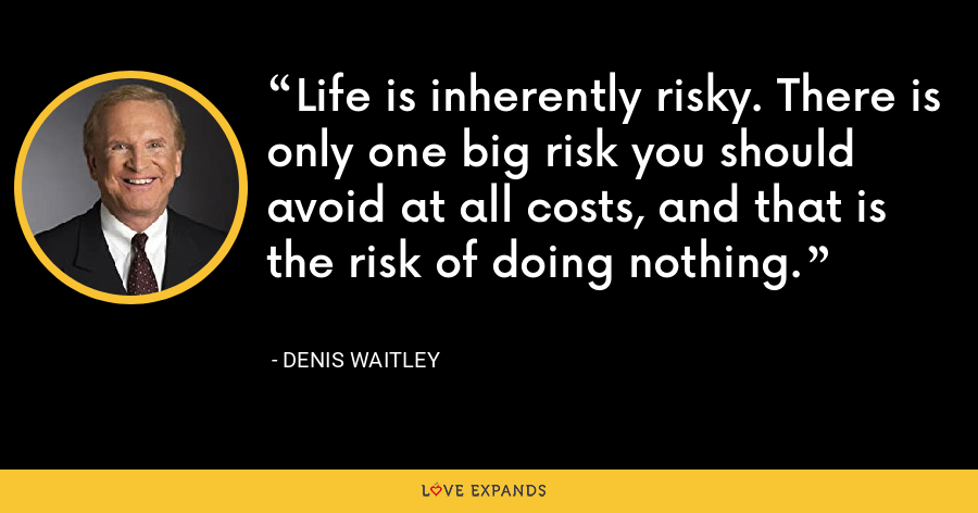 Life is inherently risky. There is only one big risk you should avoid at all costs, and that is the risk of doing nothing. - Denis Waitley